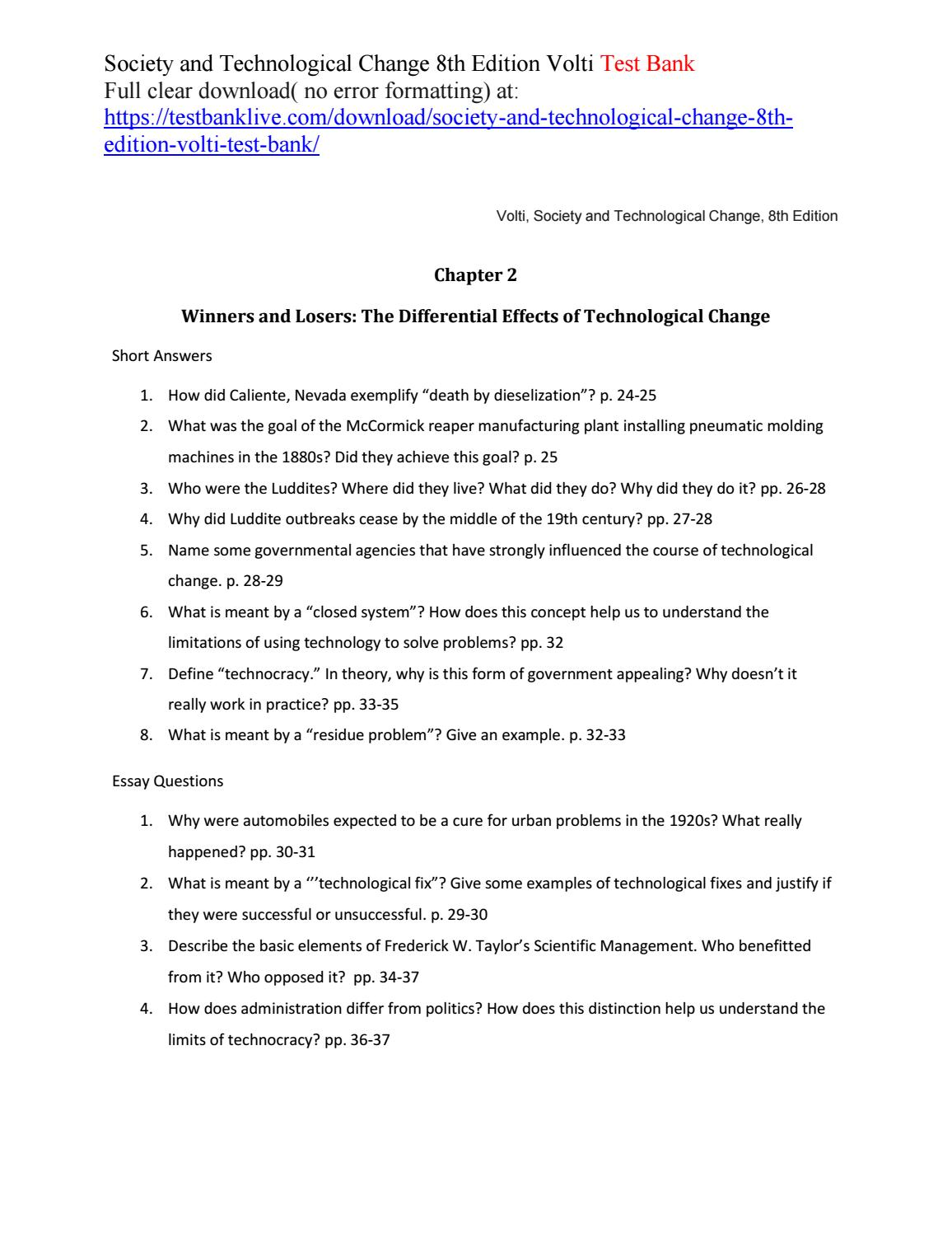 Society and technological change 8th edition volti test bank
