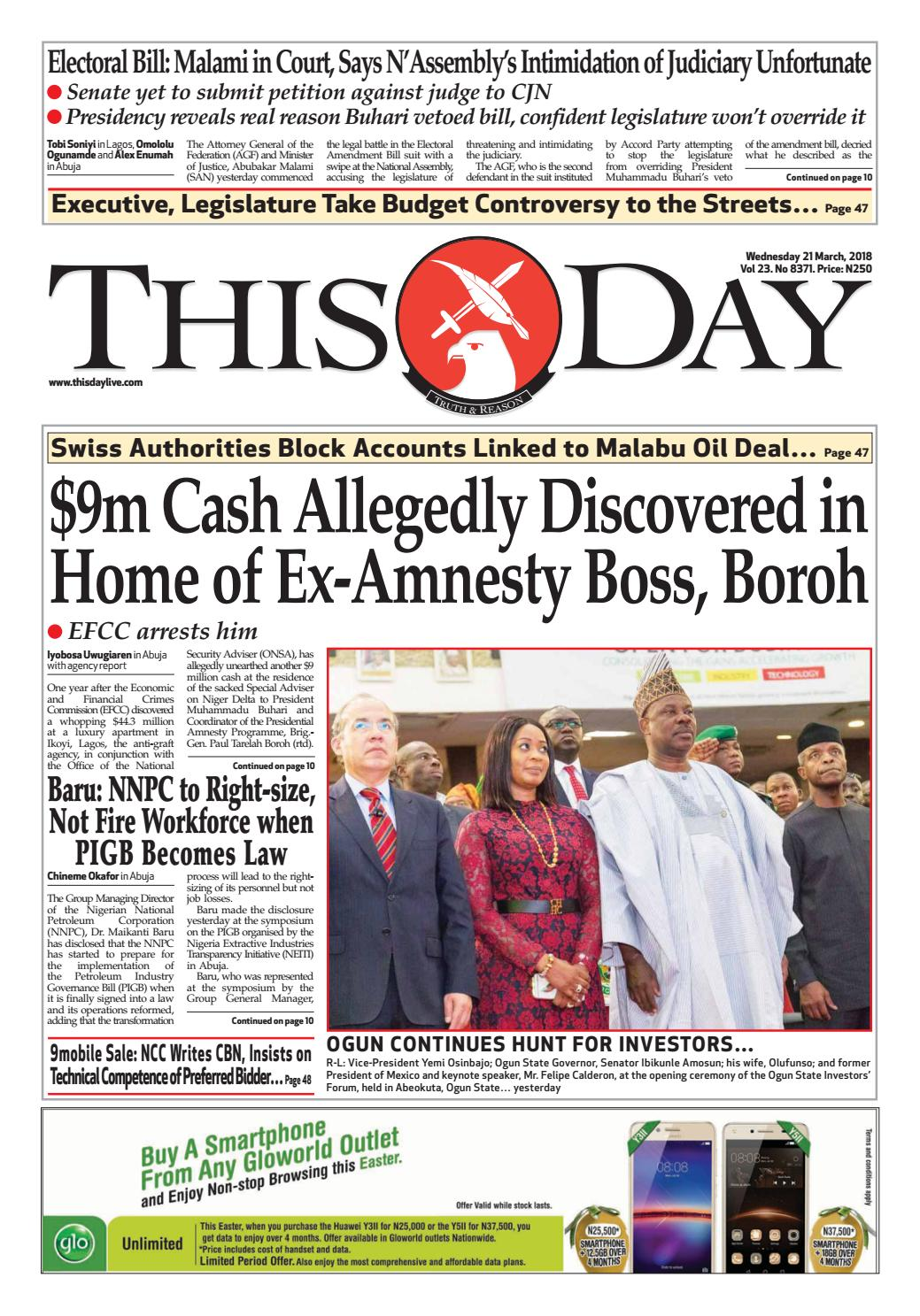 Tuesday 21ST March 2018 by THISDAY Newspapers Ltd - issuu