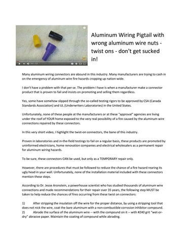 Prime Aluminum Electrical Wiring Pigtail With Wrong Aluminum Wire Nuts Wiring Cloud Nuvitbieswglorg