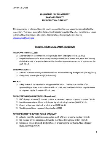 LAFD Pre Inspection Checklist by Los Angeles Fire Department