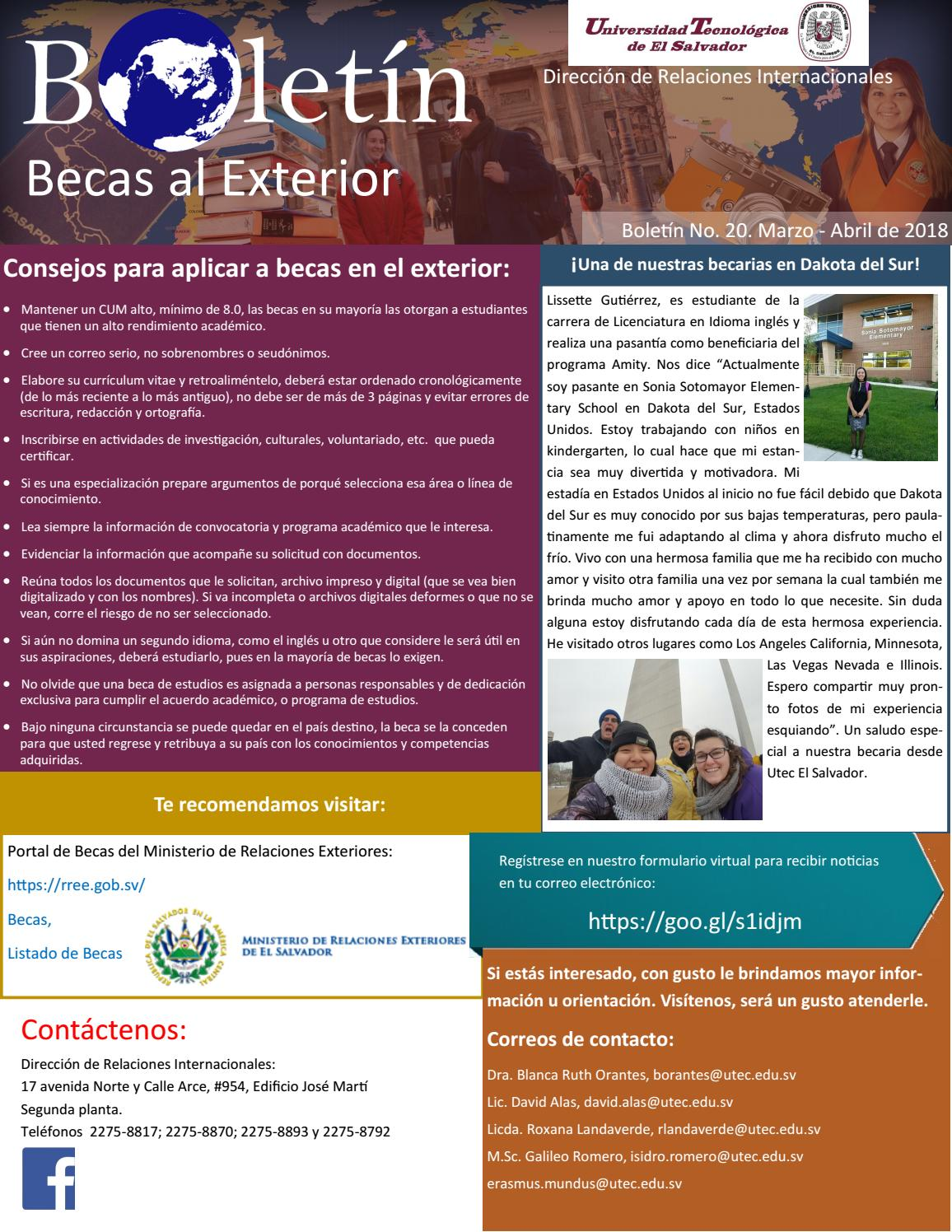 Boletín Becas al Exterior - Marzo/Abril 2018 by graduados.utec - issuu