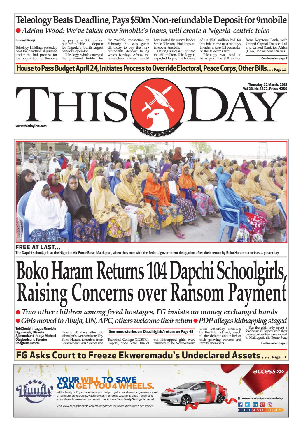 Thursday 22nd march 2018 by thisday newspapers ltd issuu fandeluxe Choice Image