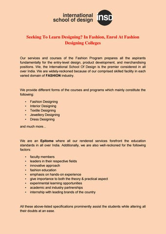 Seeking To Learn Designing In Fashion Enrol At Fashion Designing Colleges By Insd Paschim Vihar Issuu