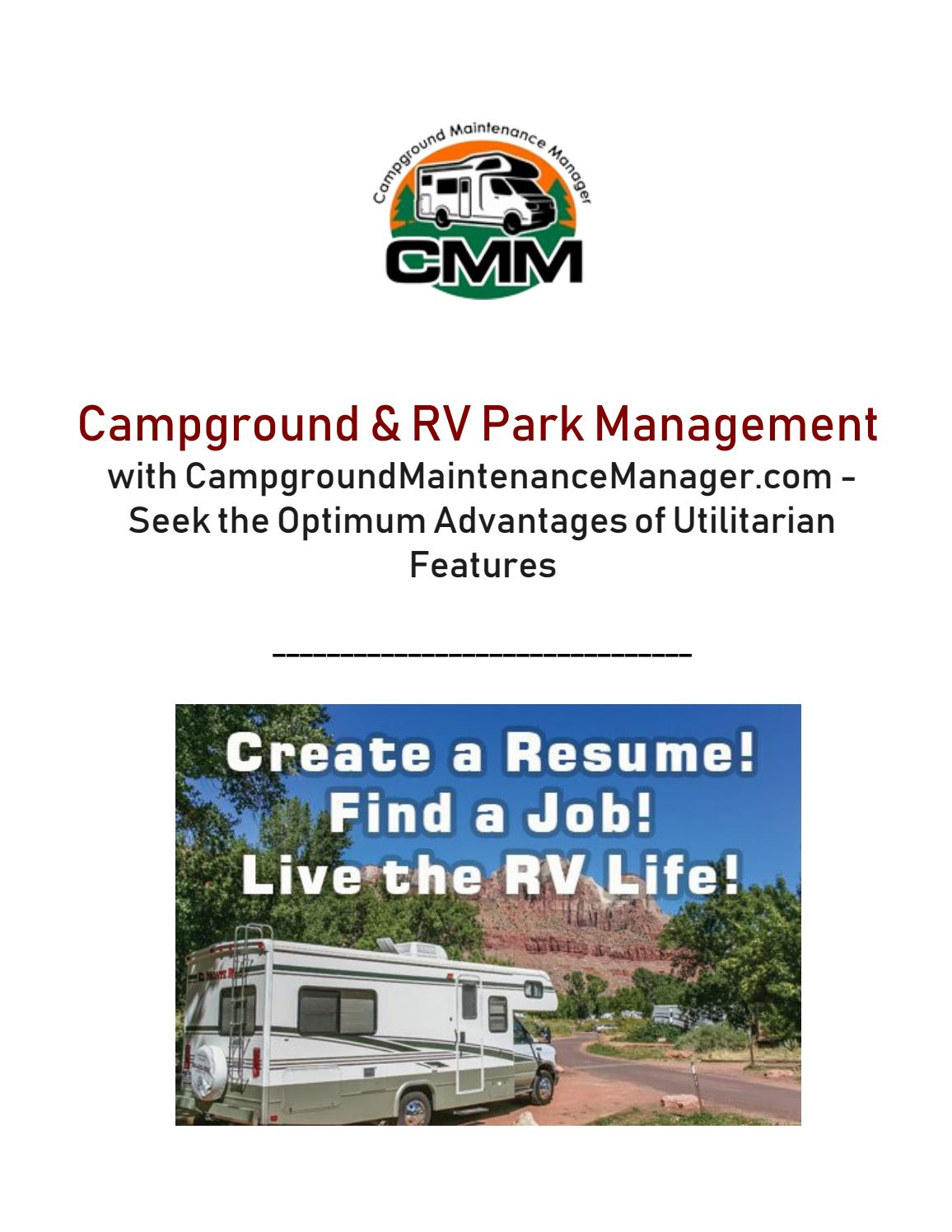 Campground & rv park management with campgroundmaintenancemanager com seek the optimum advantages of