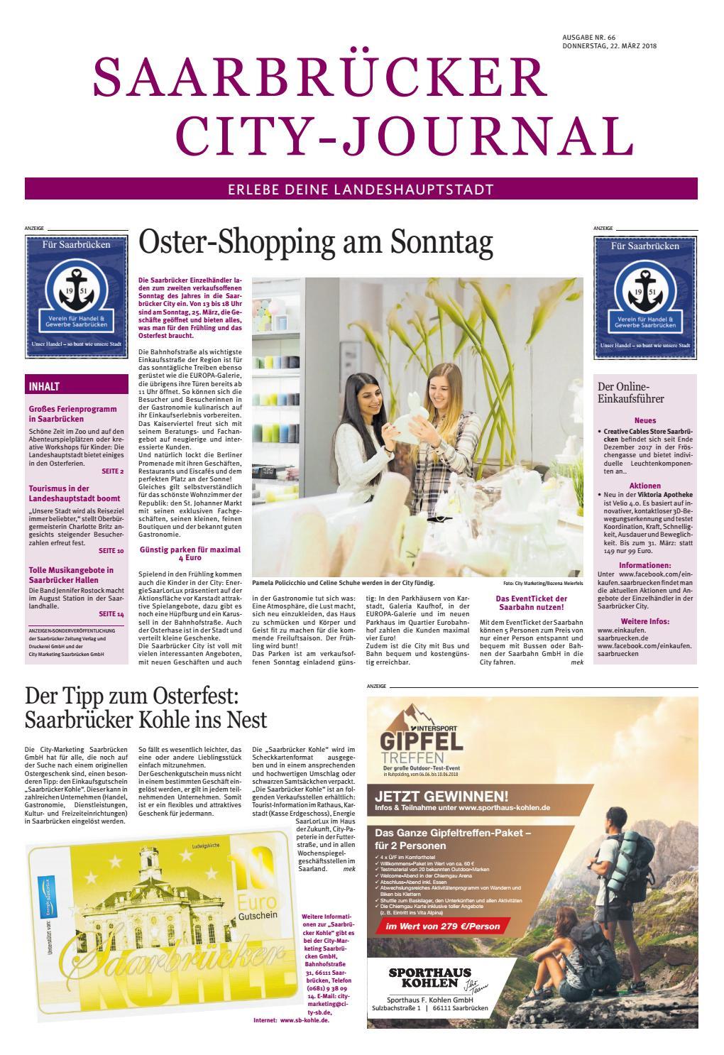 Saarbrücker City Journal Ausgabe Nr 66, 22.03.2018 By Saarbrücker  VerlagsService GmbH   Issuu