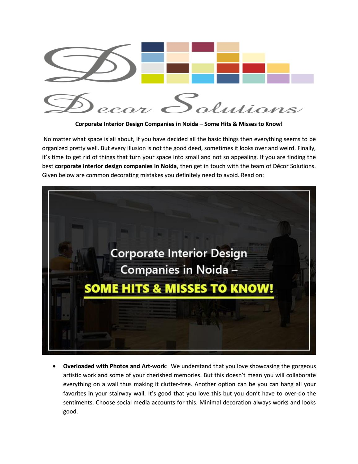 Corporate Interior Design Companies In Noida By Decor Solutions Issuu