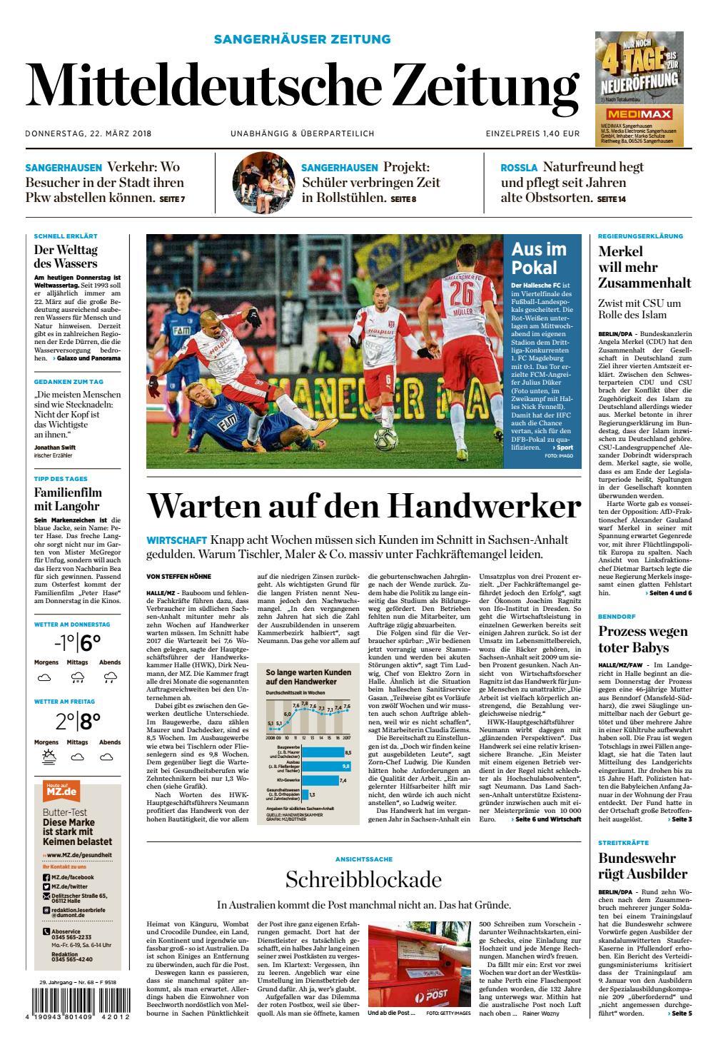 Sangerhäuser Zeitung Ausgabe 22.03.2018 by Mediengruppe