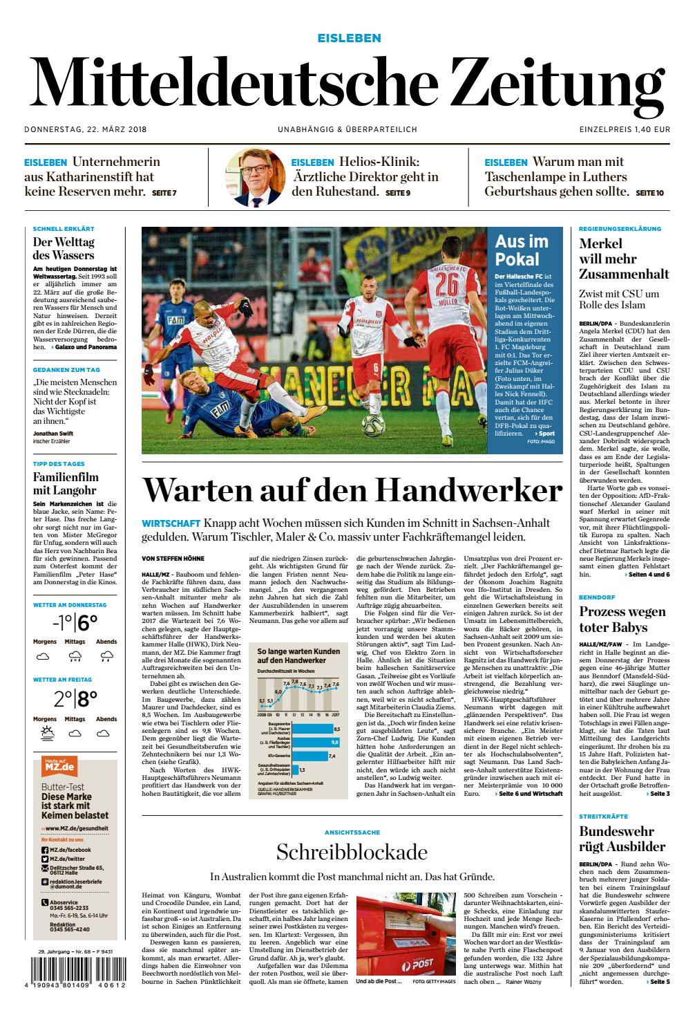 Mansfelder Zeitung Ausgabe 22.03.2018 by Mediengruppe Mitteldeutsche ...