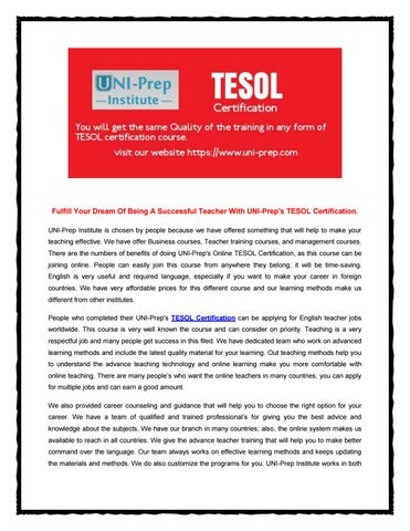 A successful teacher with uni prep\'s tesol certification by Uniprep ...