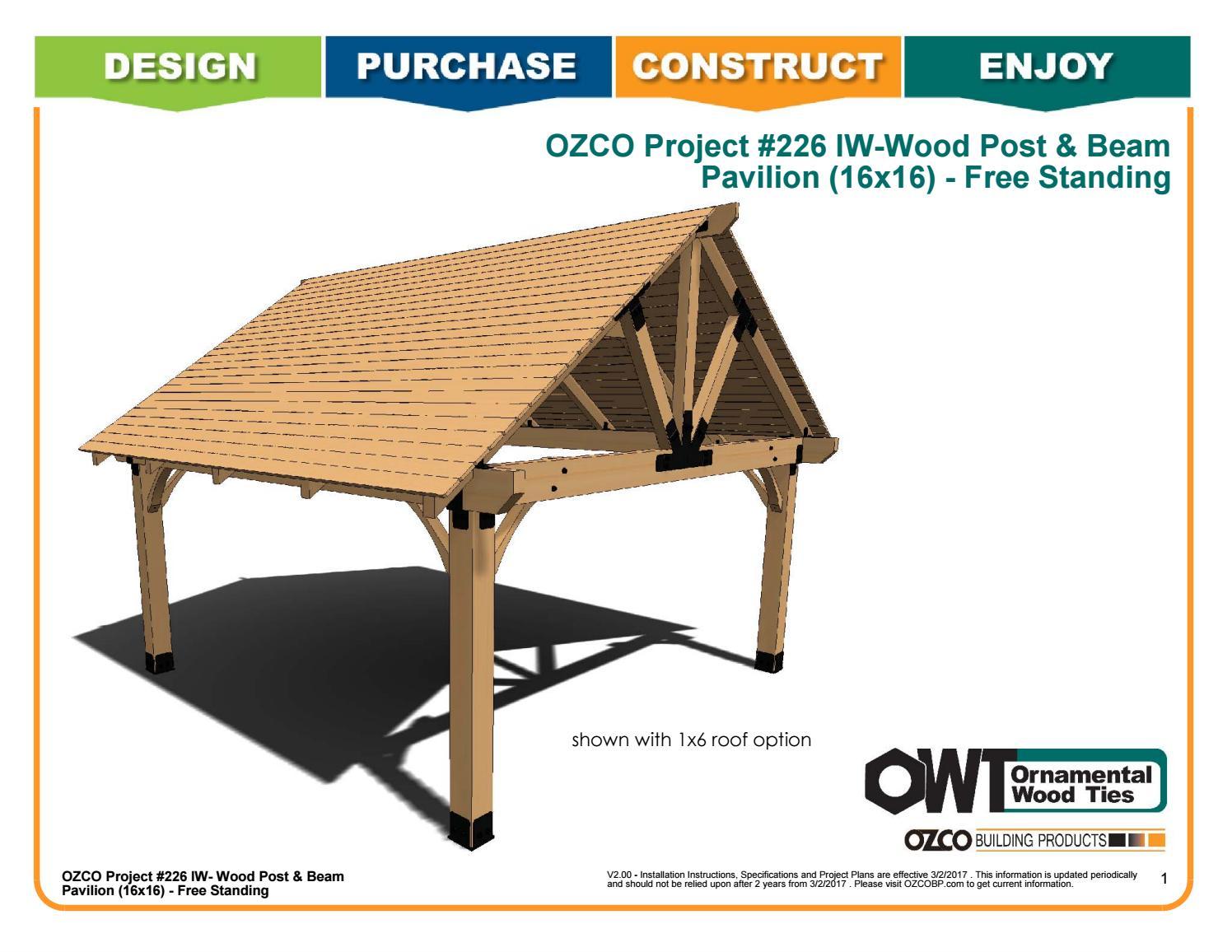 OZCO Project Wood Post & Beam Pavilion (16x16) #226 by OZCO