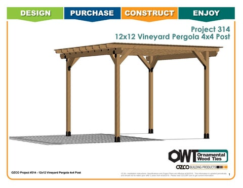OZCO Project 12x12 Vineyard Pergola 4x4 Posts #314 by OZCO Building