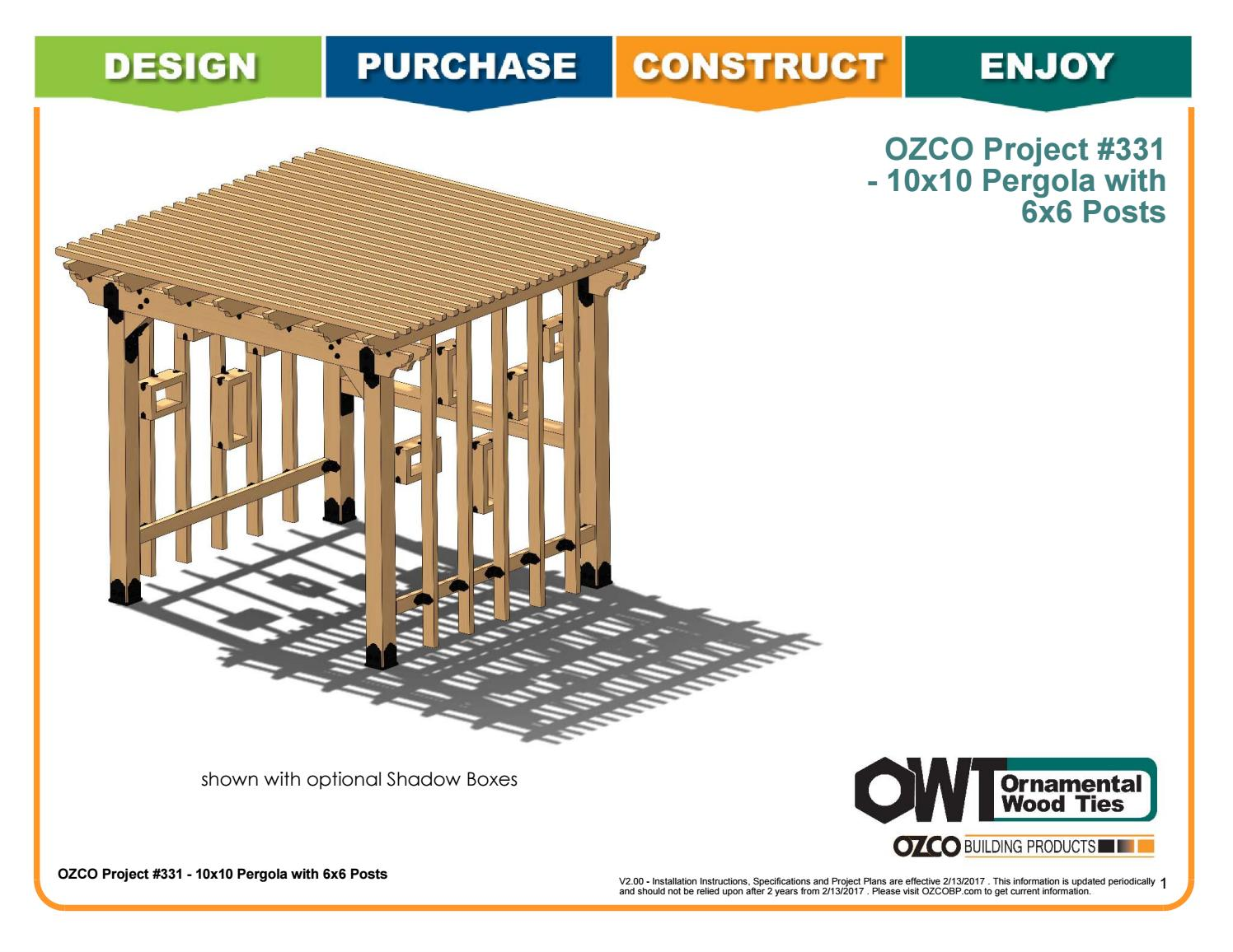 Ozco Project 10x10 Pergola 6x6 Posts 331 By Ozco Building Products Issuu