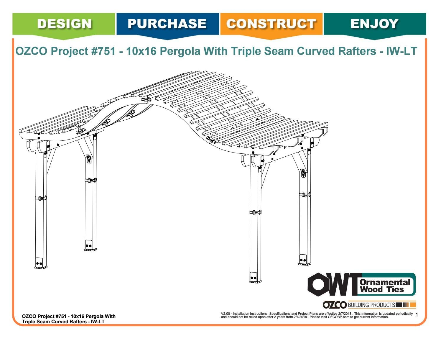 Ozco Project 751 10x16 Pergola With Triple Seam Curved