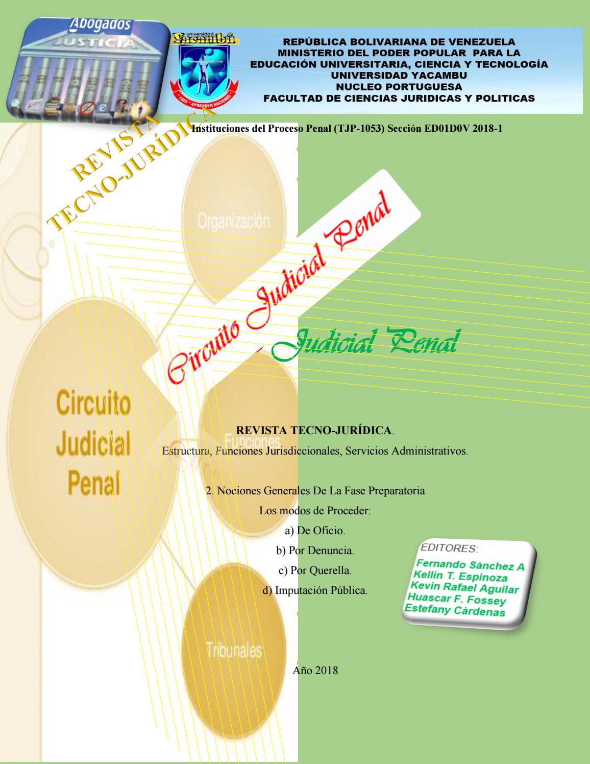 Circuito Judicial Penal : Unidad derecho procesal penal