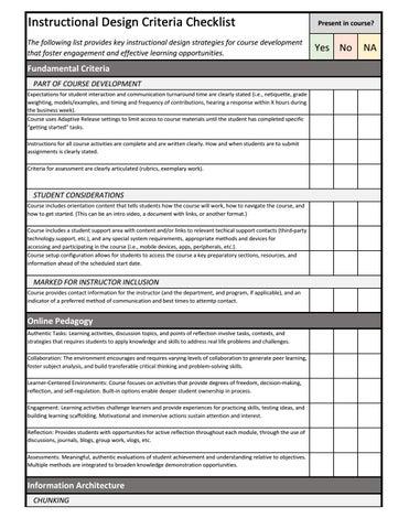 Instructional Design Checklist V1 By Dougdar Issuu