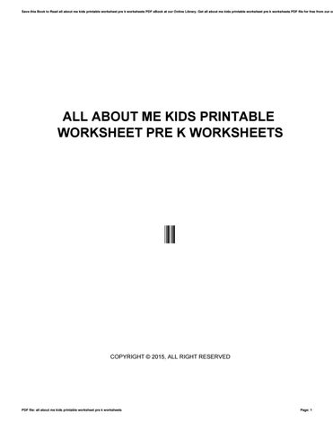 All About Me Kids Printable Worksheet Pre K Worksheets By Xww05 Issuu