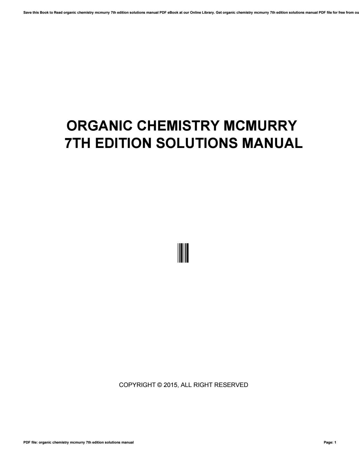 Organic chemistry mcmurry 7th edition solutions manual by apssdc198 - issuu