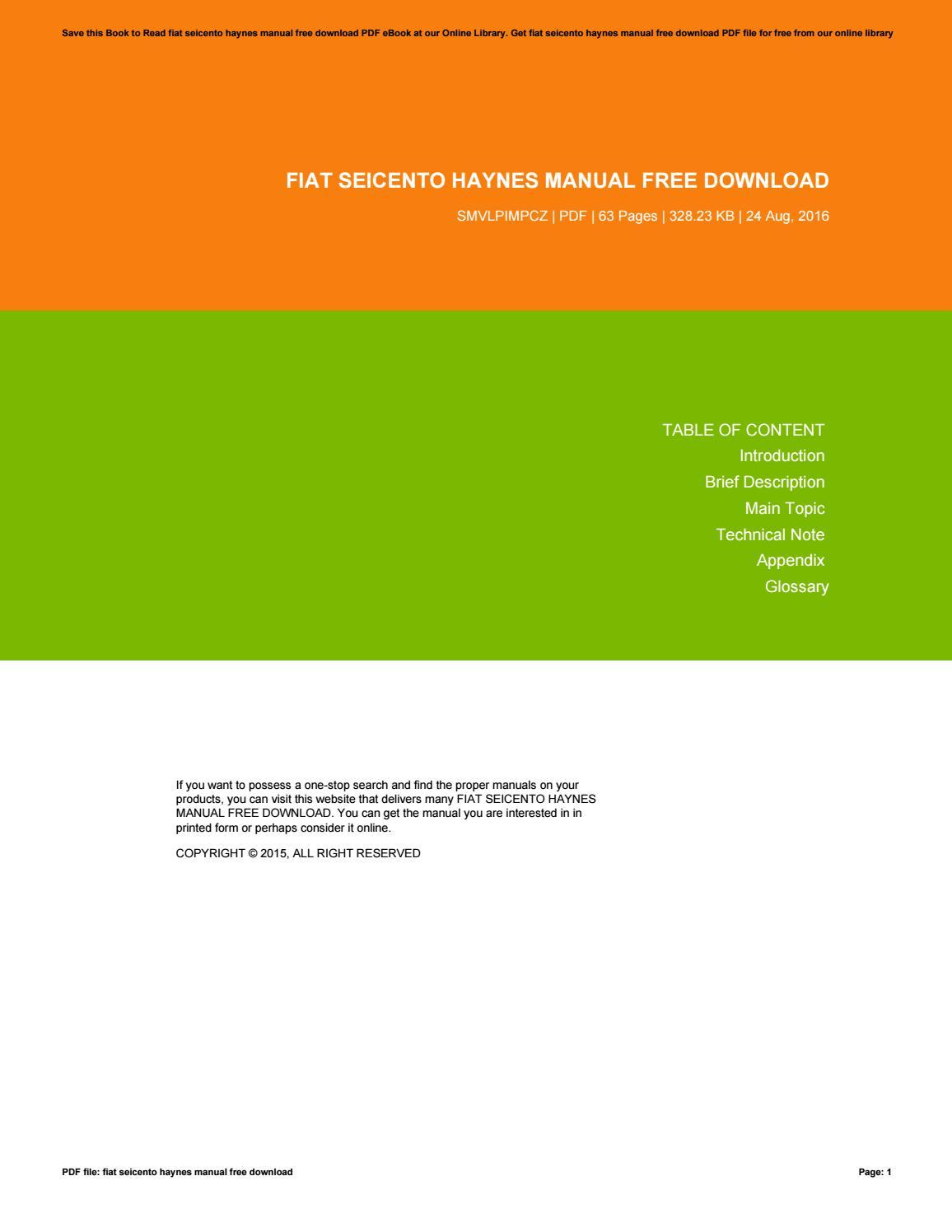 haynes pdf manuals free