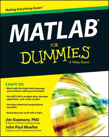 Matlab For Dummies Mueller John Paul Sizemore Jim Srg By Maria