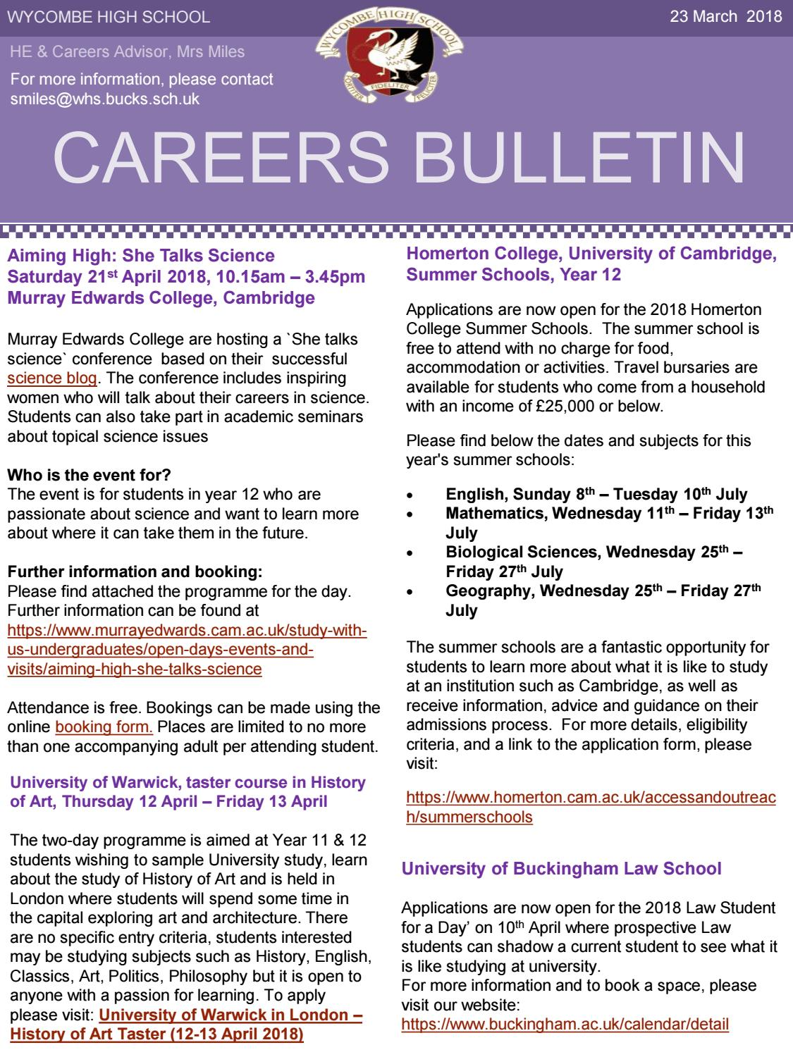 23 march 2018 Careers Bulletin by Wycombe High School - issuu