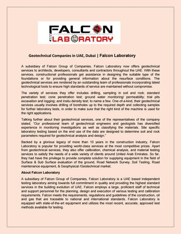 Geotechnical companies in uae dubai falcon laboratory by
