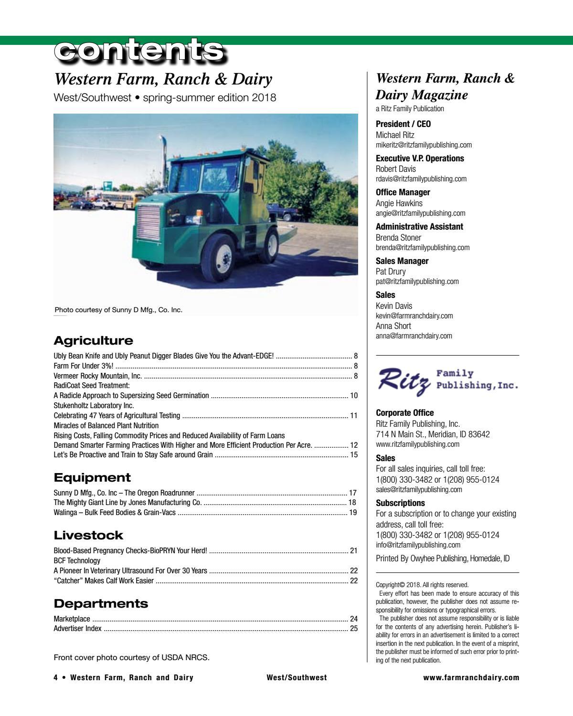 Western Farm, Ranch and Dairy Magazine – Spring-Summer 2018