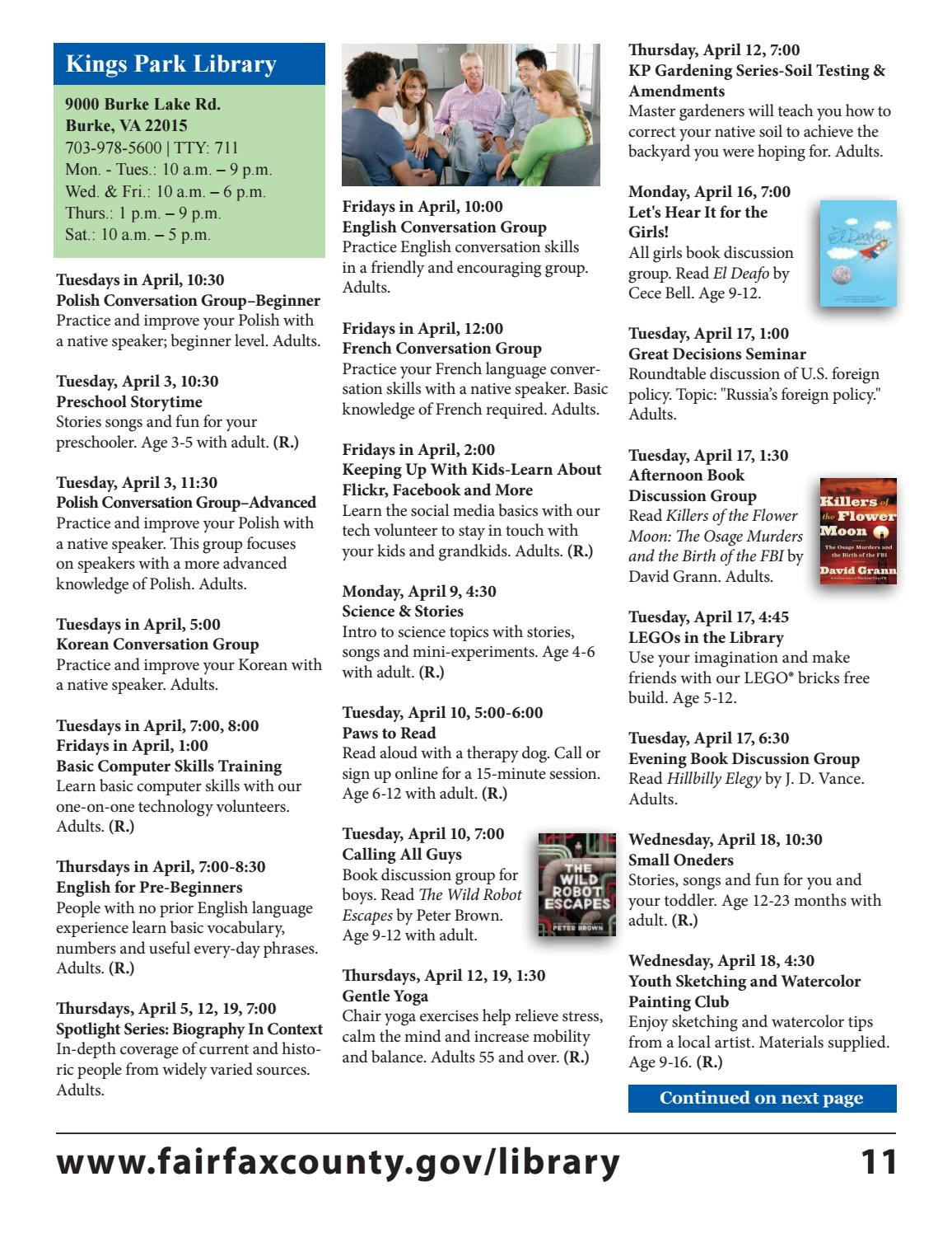 April 2018 Free Events Calendar by Fairfax County Public Library - issuu