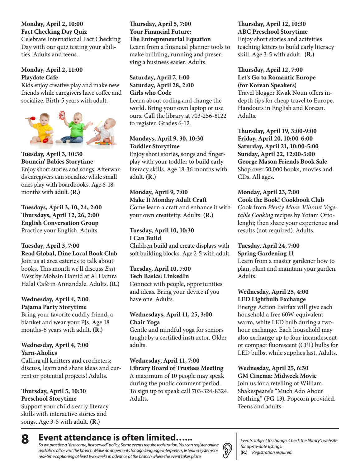 april 2018 free events calendarfairfax county public library - issuu