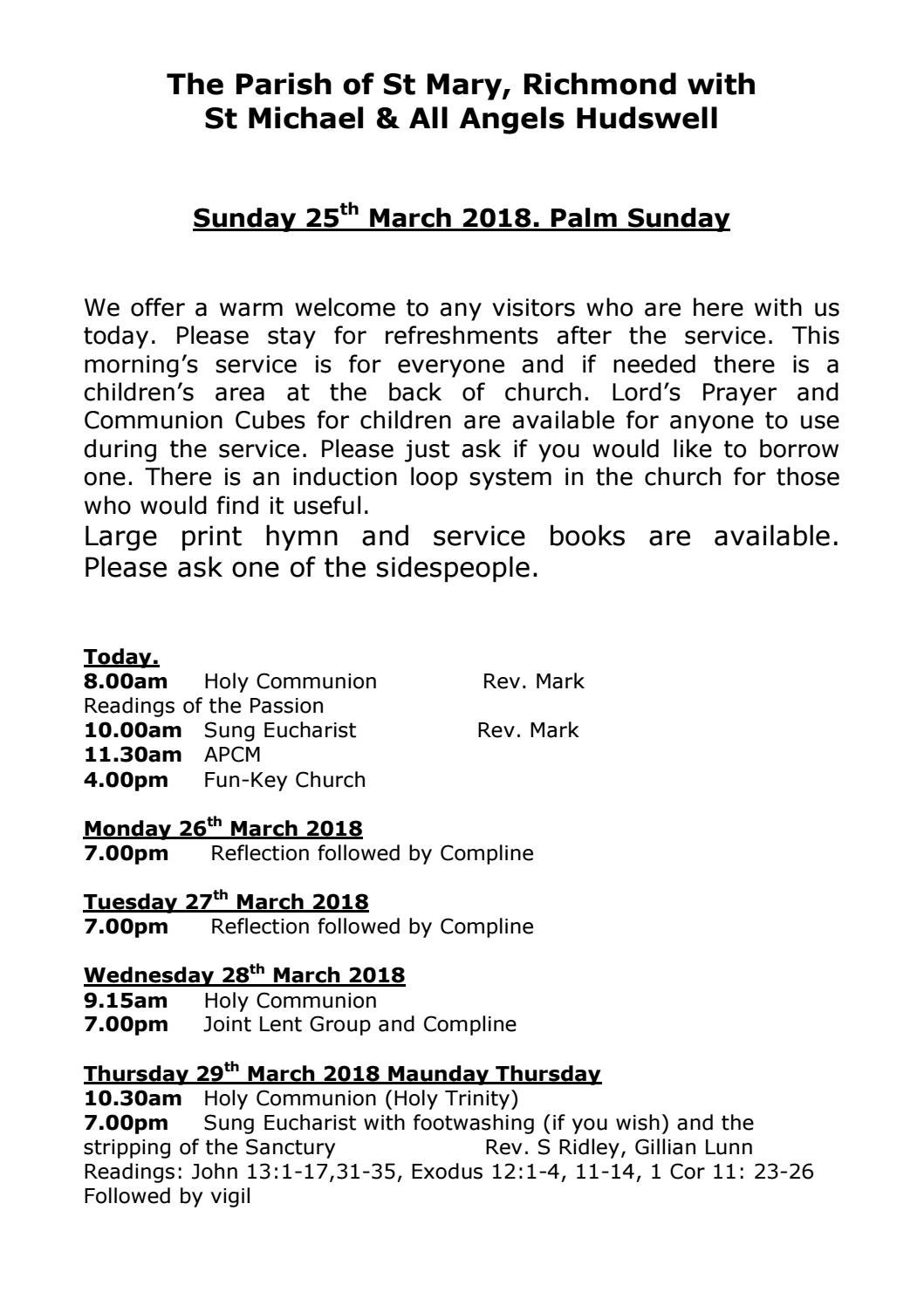 Pew sheet Palm Sunday and Holy Week 2018 by Gillian Lunn - issuu