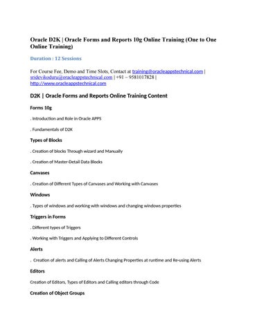 D2k oracle forms and reports online training (one to one) by