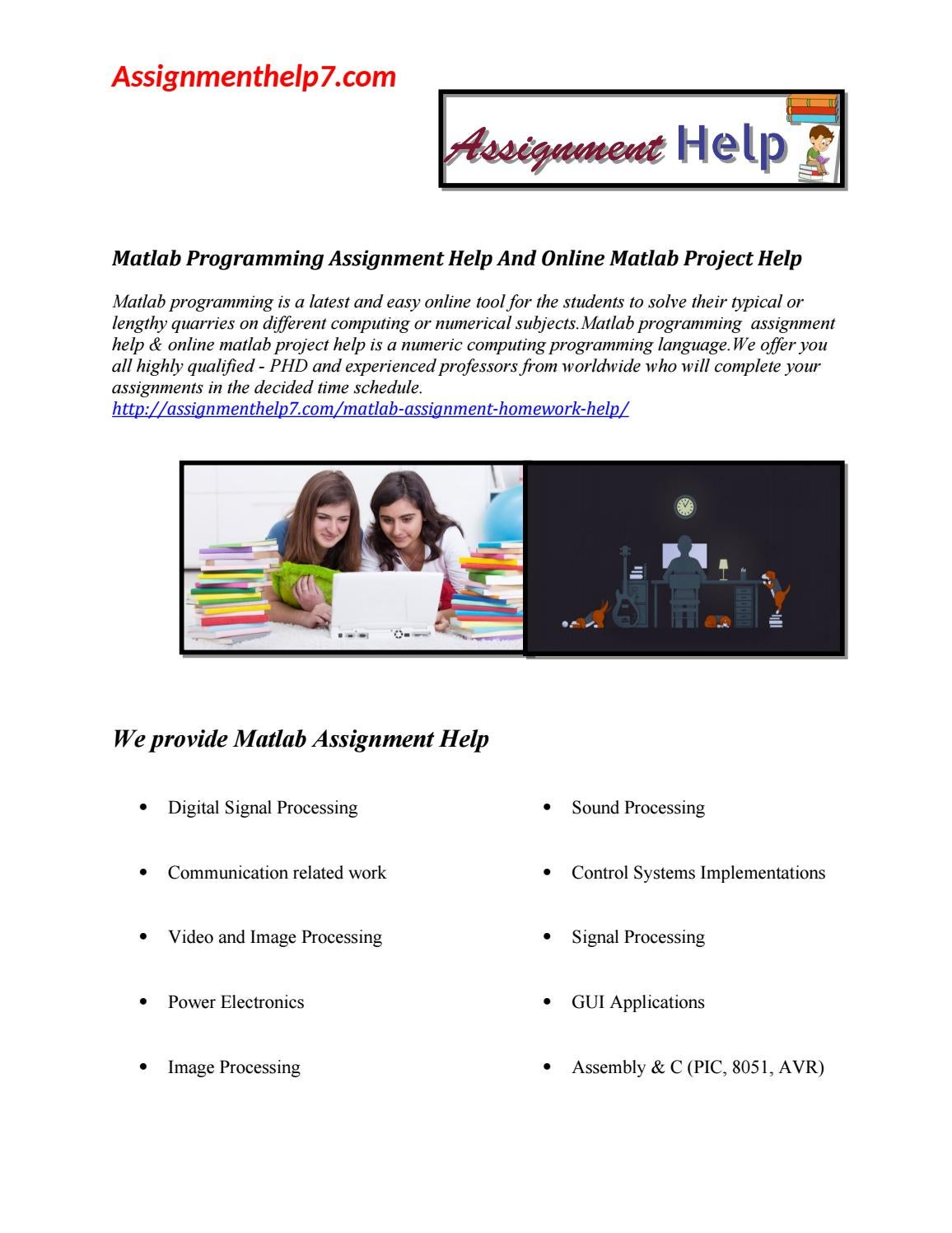 Matlab Programming Assignment Help And Online Matlab Project