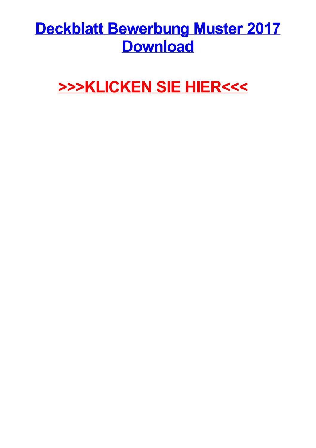 Deckblatt Bewerbung Muster 2017 Download By Amandadmwfx Issuu