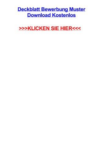 Deckblatt Bewerbung Muster Download Kostenlos By Bobbyiitg Issuu