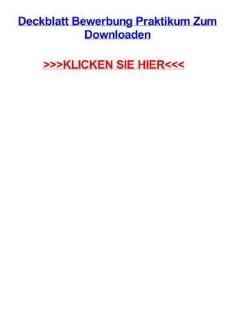 Deckblatt Bewerbung Praktikum Zum Downloaden By Anitaocmh Issuu