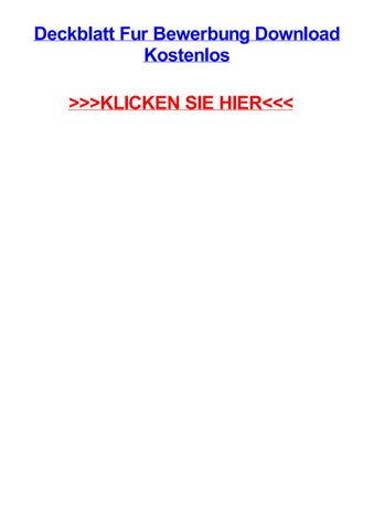 Deckblatt Fur Bewerbung Download Kostenlos By Stevenwxmm Issuu