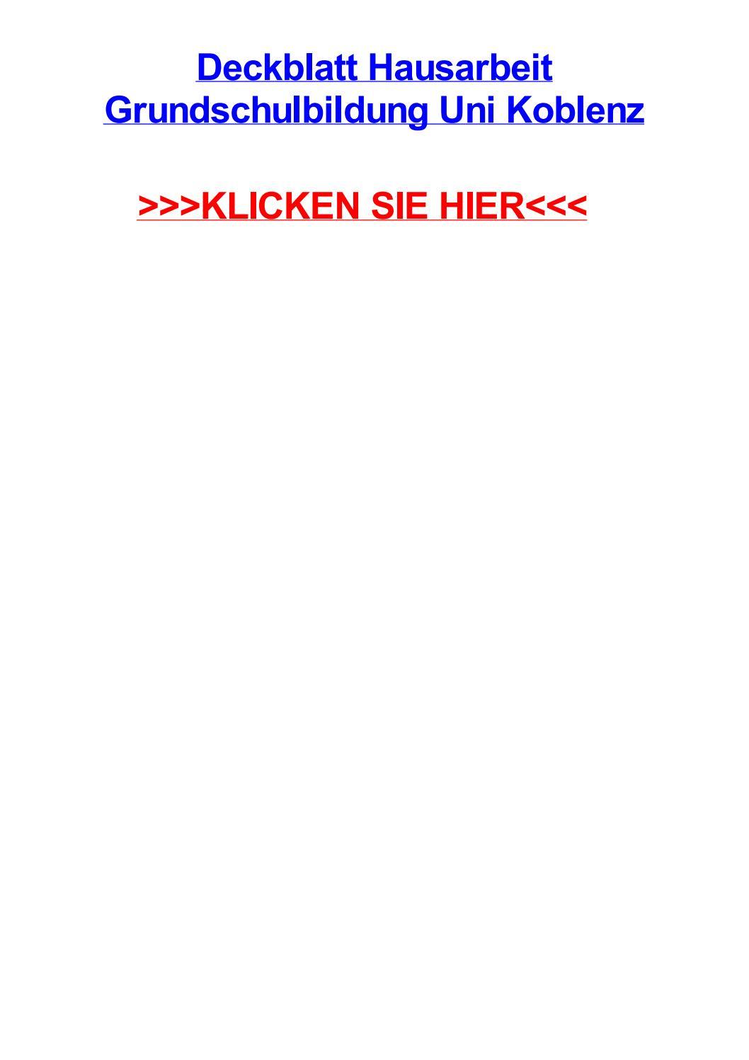 Deckblatt hausarbeit grundschulbildung uni koblenz by marianntv - issuu