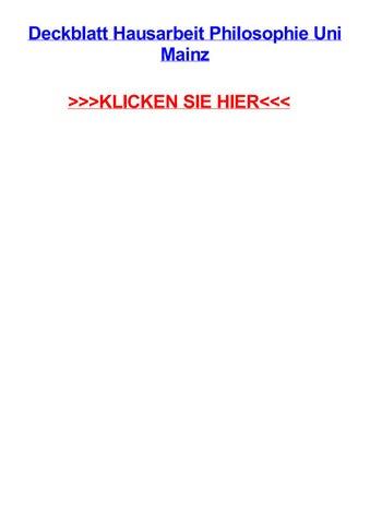 Deckblatt Hausarbeit Philosophie Uni Mainz By Tinaouzgm Issuu