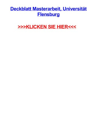 fh flensburg bachelor thesis deckblatt