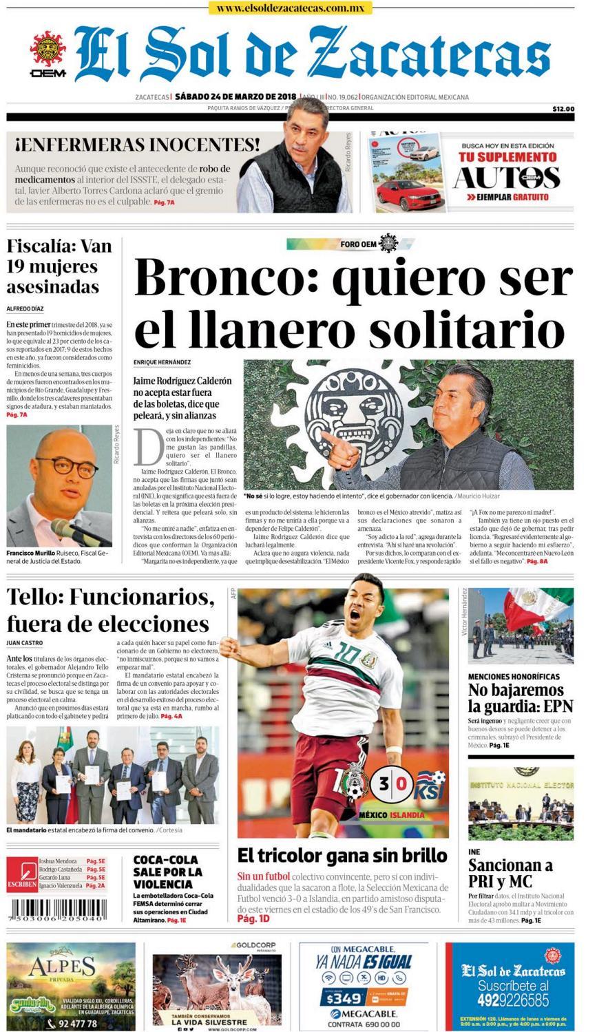 El Sol de Zacatecas 24 de marzo 2018 by El Sol de Zacatecas - issuu 97cf4036968f