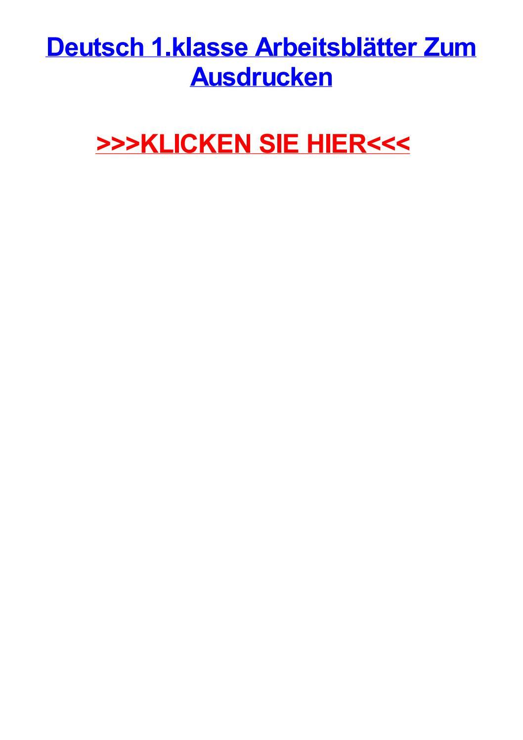 Deutsch 1 Klasse Arbeitsbltter Zum Ausdrucken By