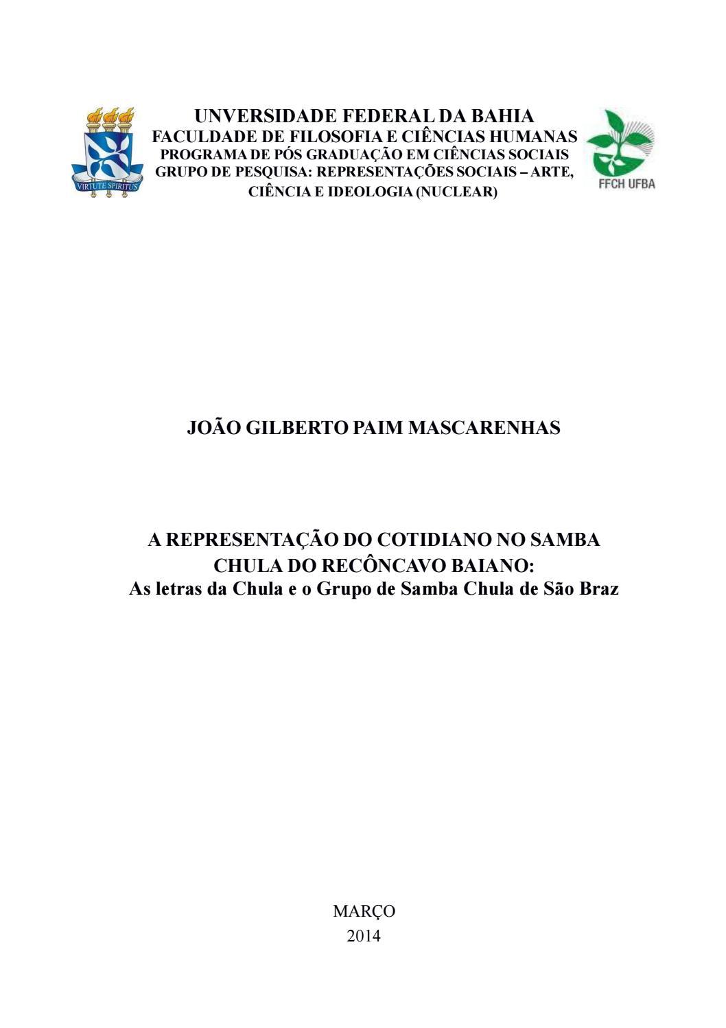 A representação do cotidiano no samba chula do recôncavo baiano  as letras  da chula e o grupo de sam by Portal Academia do Samba - issuu 5051c026bf9