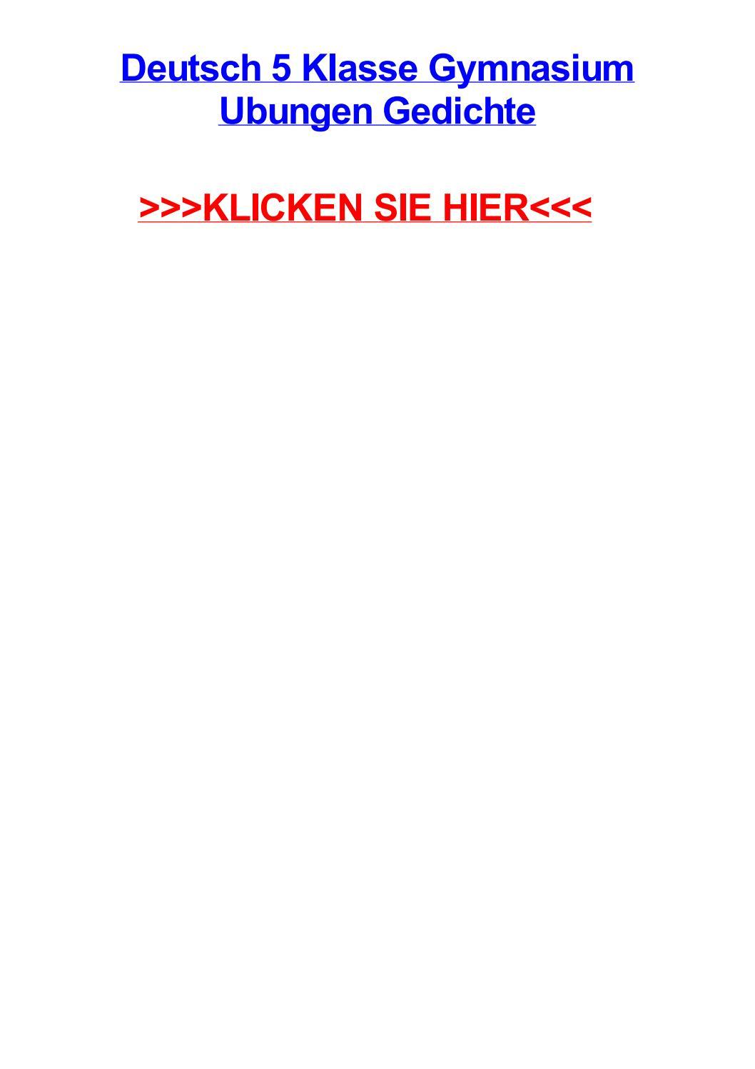 Deutsch 5 Klasse Gymnasium Ubungen Gedichte By Joeuyse Issuu