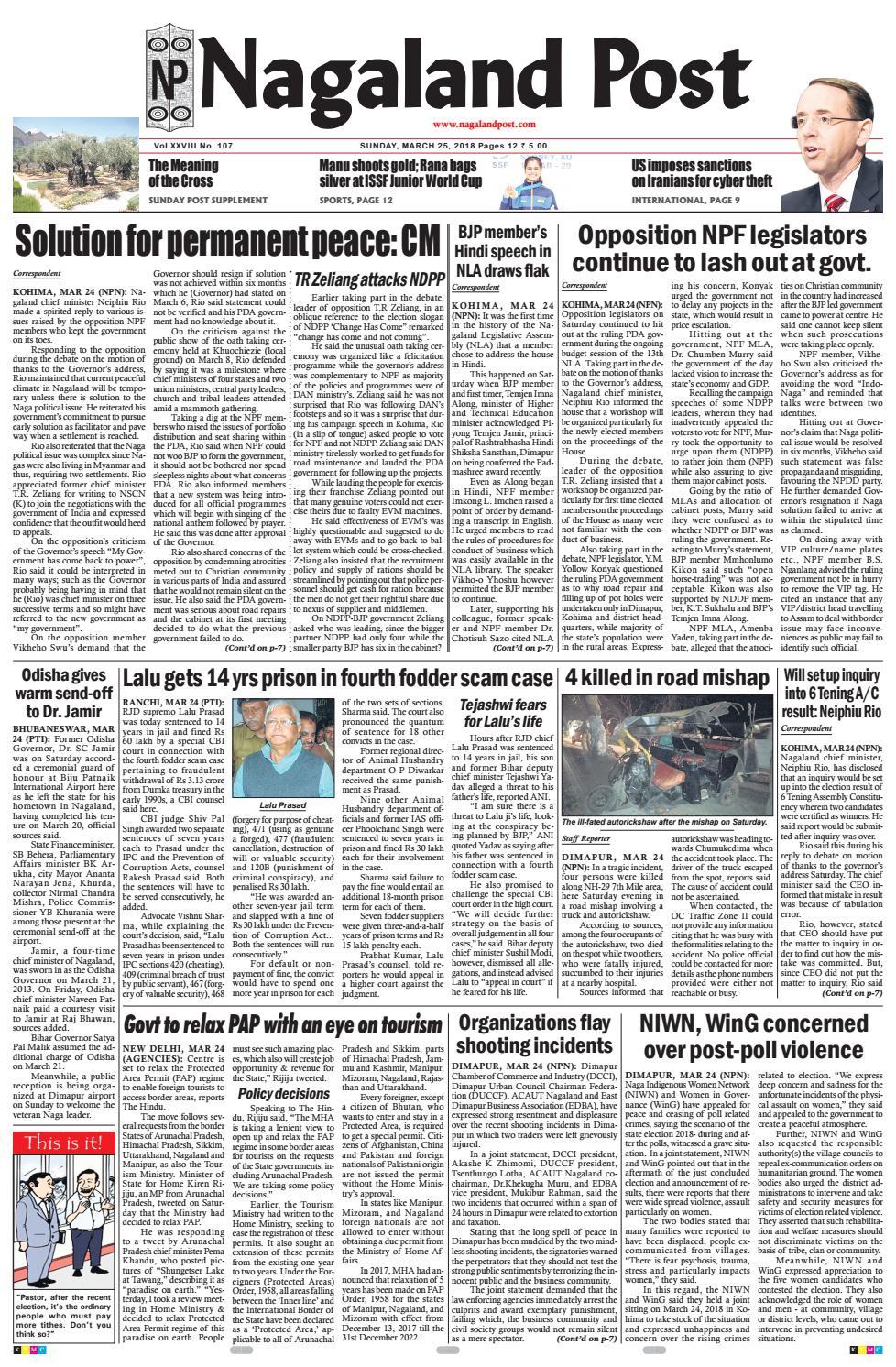 March 25 2018 By Nagaland Post Issuu Suqma Serenity Greyish Blue M