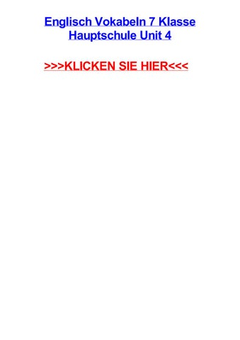 Englisch vokabeln 7 klasse hauptschule unit 4 by carlamcdqe - issuu