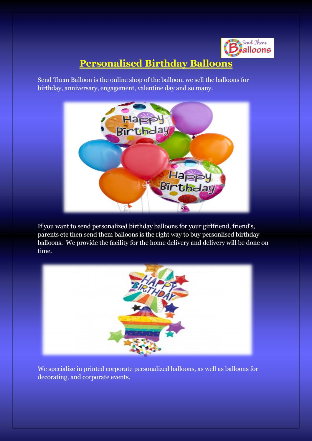Personalised Birthday Balloons By Send Them