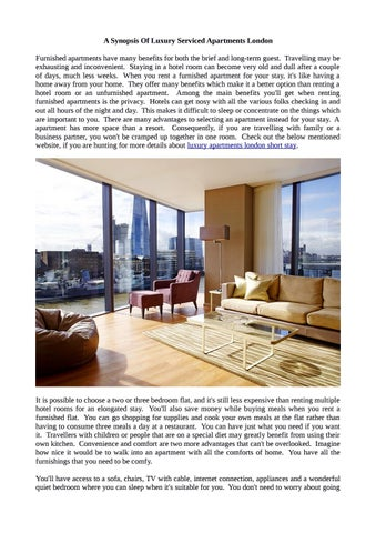 A Synopsis Of Luxury Serviced Apartments London Furnished Have Many Benefits For Both The Brief And Long Term Guest Travelling May Be Exhausting