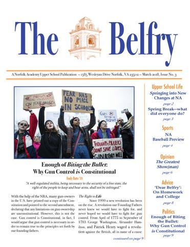 the Belfry - Spring 2018 by Norfolk Academy - issuu