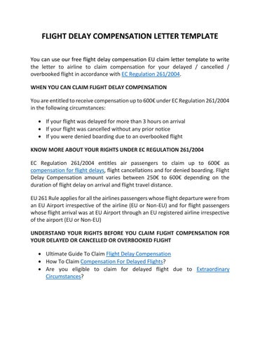 Flight compensation letter template by claim flights issuu flight delay compensation letter template you can use our free flight delay compensation eu claim letter template to write the letter to airline to claim altavistaventures Image collections