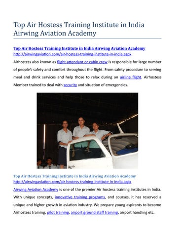 Top air hostess training institute in india airwing aviation academy
