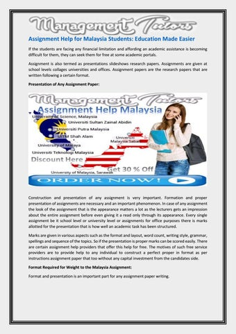 Assignment Help For Malaysia Students By Karen Wilson  Issuu Assignment Help For Malaysia Students Education Made Easier If The  Students Are Facing Any Financial Limitation And Affording An Academic  Assistance Is